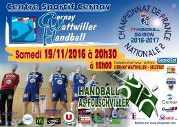 cernay wattwiller handball rencontre nationale 2 19 11 2016
