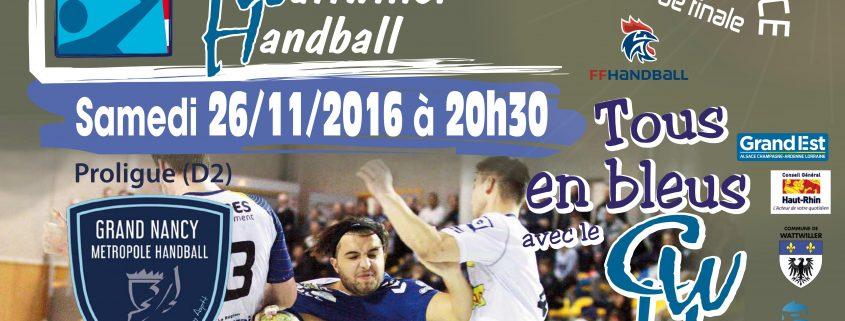 affiche du match cernay hand contre nancy championnat de france de handball avec temps 2 sport