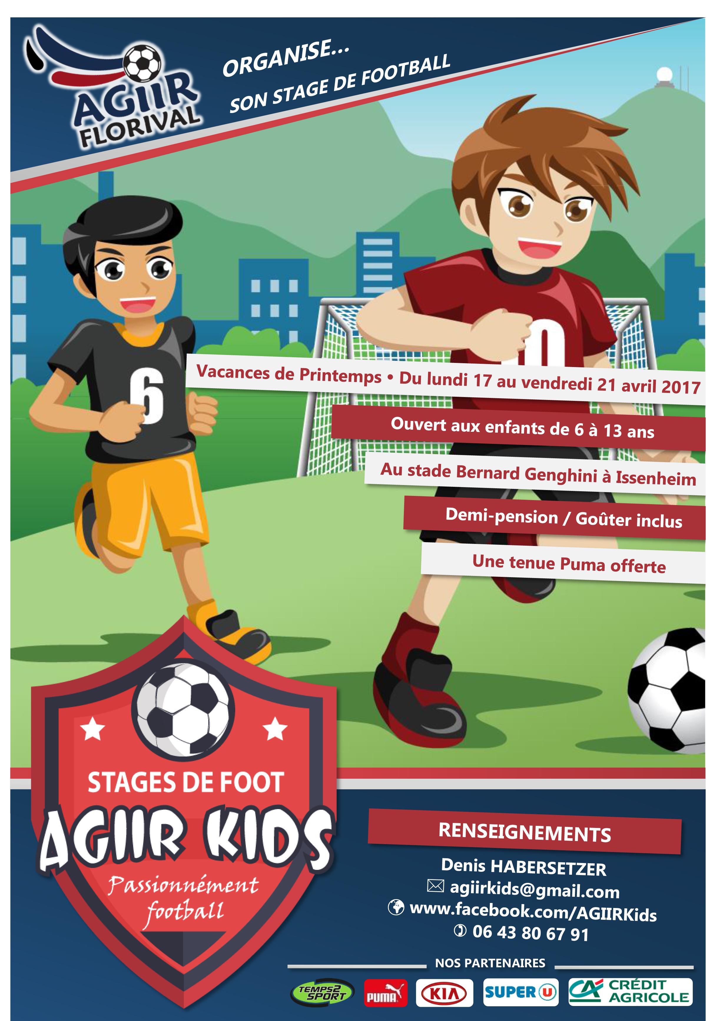 Affiche stage foot enfants avec temps2sport et Puma