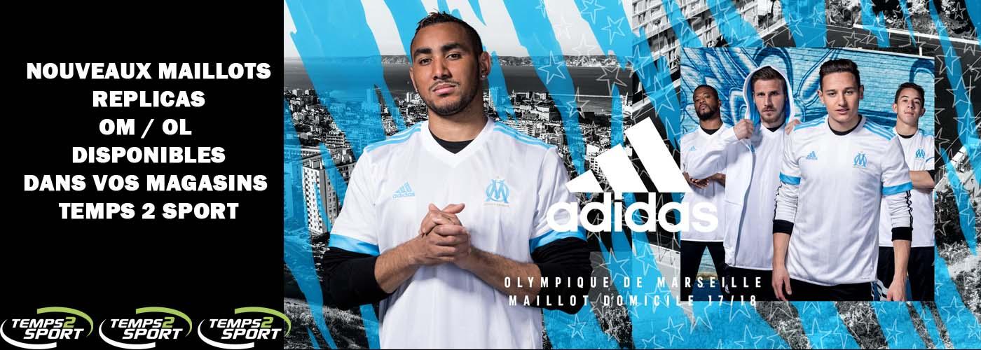 nouveaux maillot Adidas OM 2017 chez Temps 2 Sport