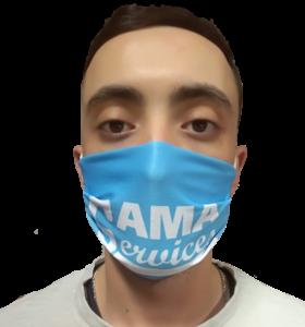 masque de protection personnalisé bleu